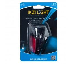 Ikzi Achterlicht Ikzi Met 1 Led Kaart Gekeurd Reflector + Batterij Aan/uit Spatbordbev